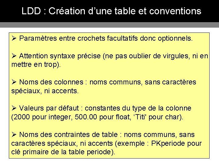 LDD : Création d'une table et conventions Ø Paramètres entre crochets facultatifs donc optionnels.