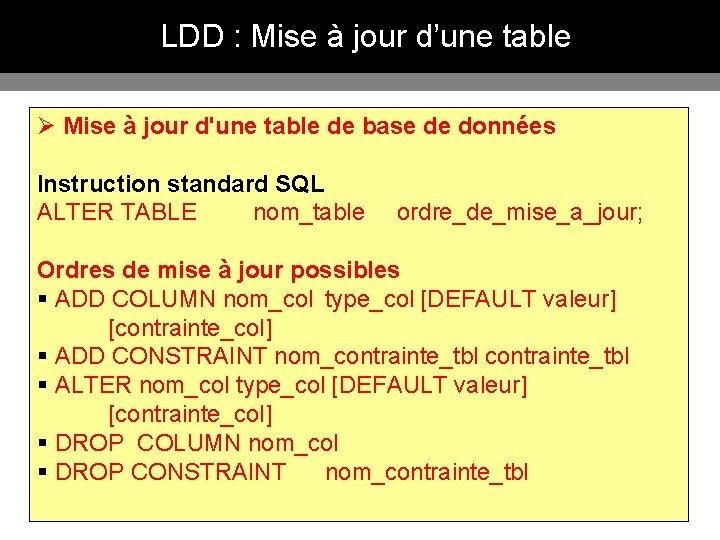 LDD : Mise à jour d'une table Ø Mise à jour d'une table de