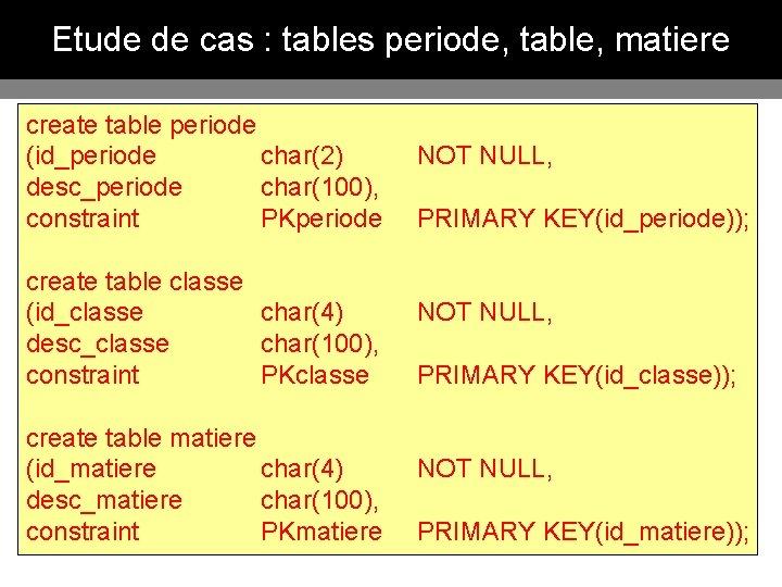 Etude de cas : tables periode, table, matiere create table periode (id_periode char(2) NOT