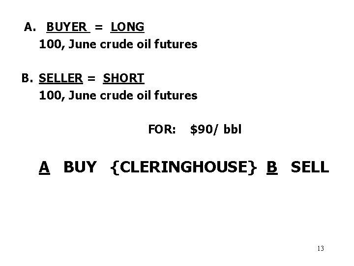 A. BUYER = LONG 100, June crude oil futures B. SELLER = SHORT 100,