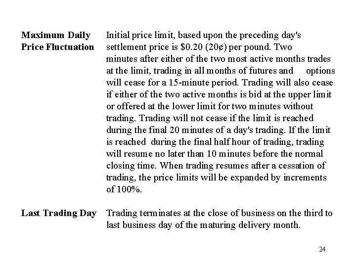 Maximum Daily Price Fluctuation Initial price limit, based upon the preceding day's settlement price