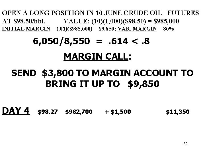 OPEN A LONG POSITION IN 10 JUNE CRUDE OIL FUTURES AT $98. 50/bbl. VALUE: