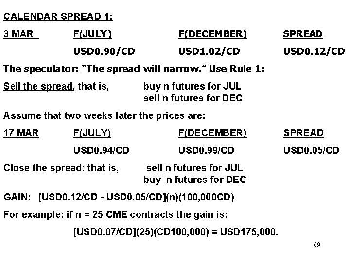 CALENDAR SPREAD 1: 3 MAR F(JULY) F(DECEMBER) SPREAD USD 0. 90/CD USD 1. 02/CD