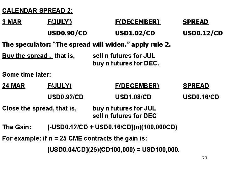 CALENDAR SPREAD 2: 3 MAR F(JULY) F(DECEMBER) SPREAD USD 0. 90/CD USD 1. 02/CD