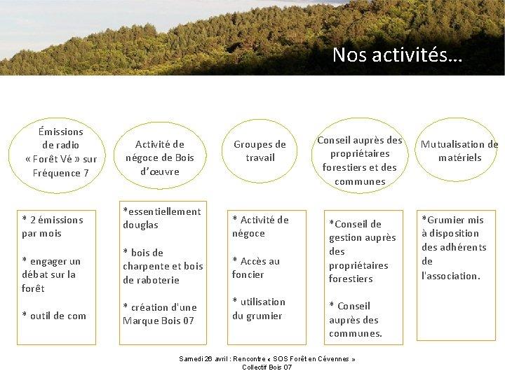 Nos activités… Émissions de radio « Forêt Vé » sur Fréquence 7 * 2