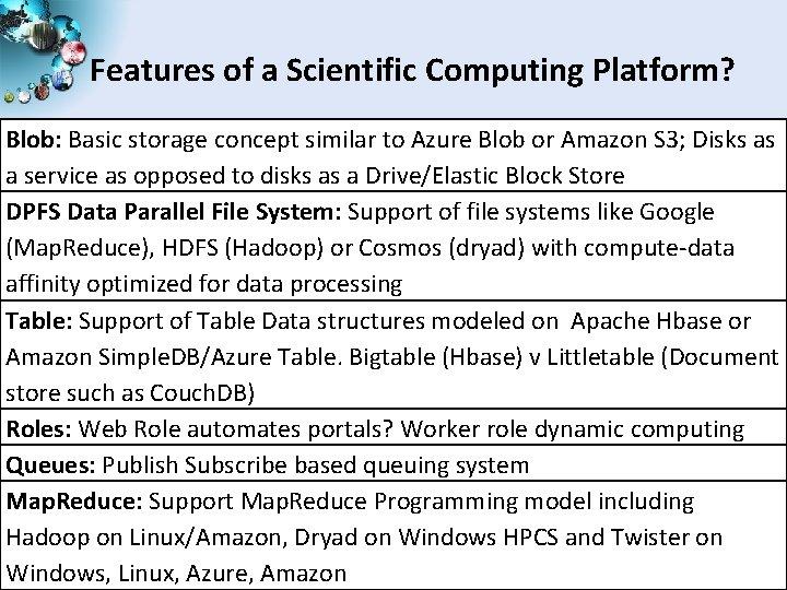 Features of a Scientific Computing Platform? Blob: Basic storage concept similar to Azure Blob