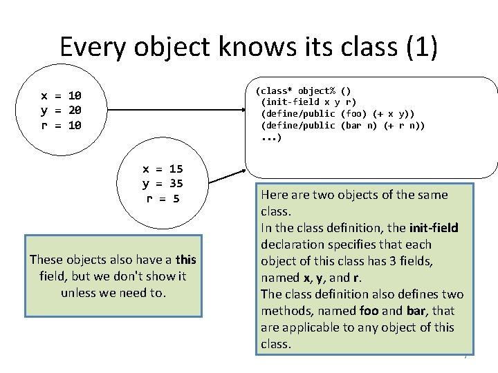 Every object knows its class (1) (class* object% () (init-field x y r) (define/public