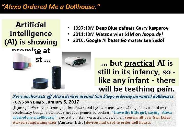 """""""Alexa Ordered Me a Dollhouse. """" Artificial Intelligence (AI) is showing promise at long"""