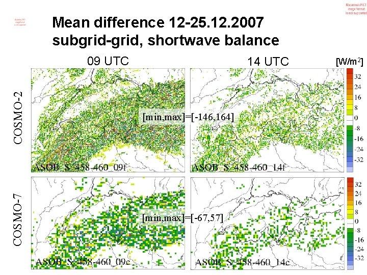 Mean difference 12 -25. 12. 2007 subgrid-grid, shortwave balance 09 UTC COSMO-2 [min, max]=[-146,