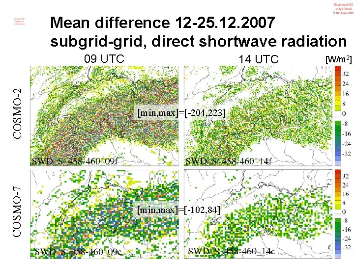 Mean difference 12 -25. 12. 2007 subgrid-grid, direct shortwave radiation 09 UTC COSMO-2 [min,