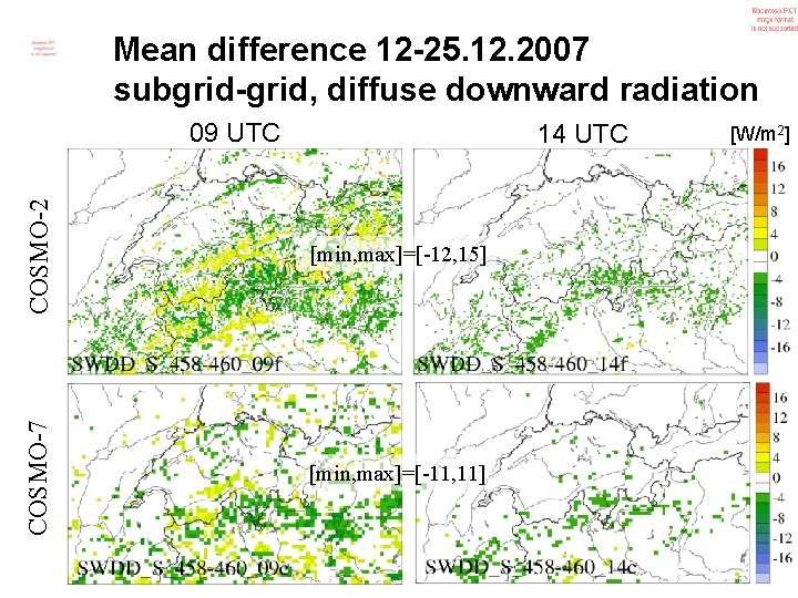 Mean difference 12 -25. 12. 2007 subgrid-grid, diffuse downward radiation 09 UTC COSMO-2 [min,