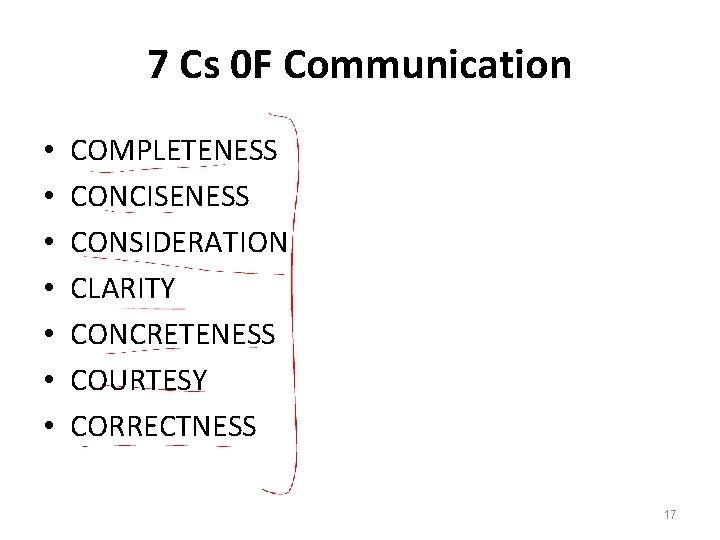 7 Cs 0 F Communication • • COMPLETENESS CONCISENESS CONSIDERATION CLARITY CONCRETENESS COURTESY CORRECTNESS