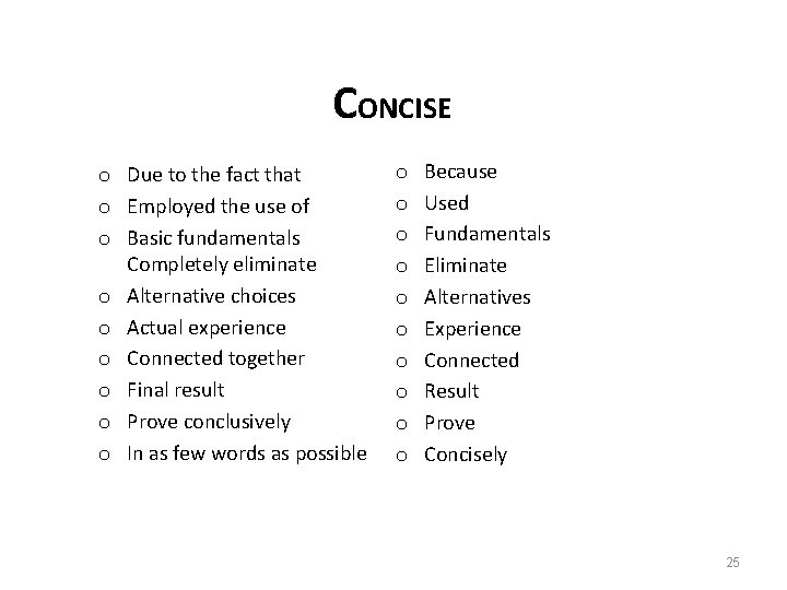 CONCISE o Due to the fact that o Employed the use of o Basic