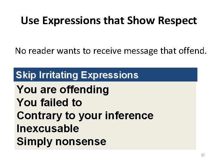 Use Expressions that Show Respect No reader wants to receive message that offend. Skip