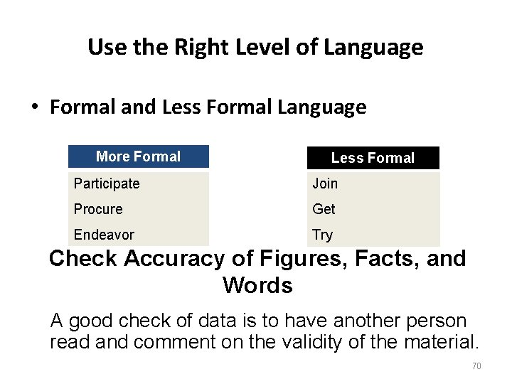 Use the Right Level of Language • Formal and Less Formal Language More Formal