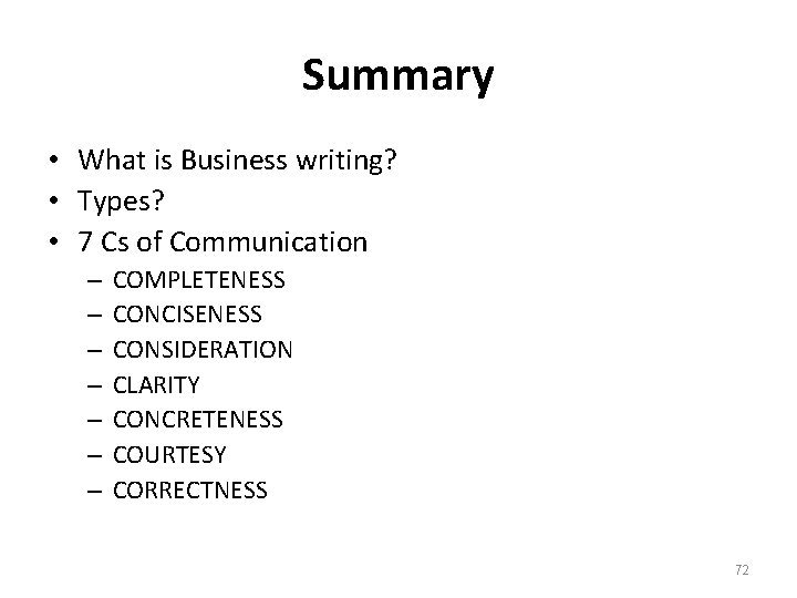 Summary • What is Business writing? • Types? • 7 Cs of Communication –