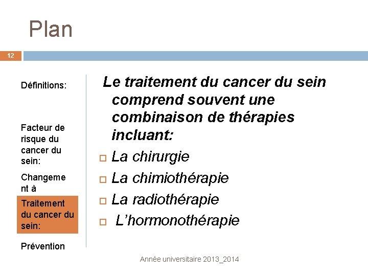 Plan 12 Définitions: Facteur de risque du cancer du sein: Changeme nt à surveiller