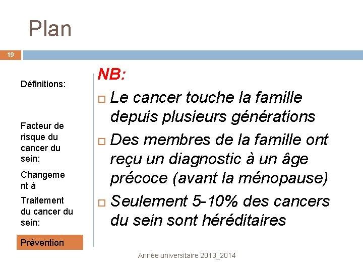 Plan 19 Définitions: Facteur de risque du cancer du sein: Changeme nt à surveiller