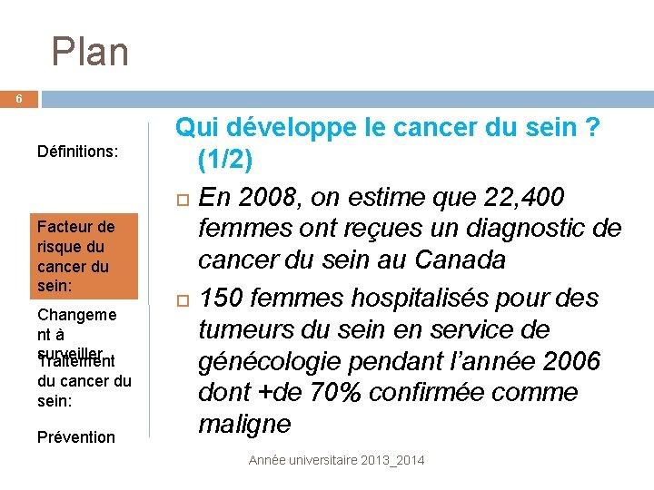 Plan 6 Définitions: Facteur de risque du cancer du sein: Changeme nt à surveiller