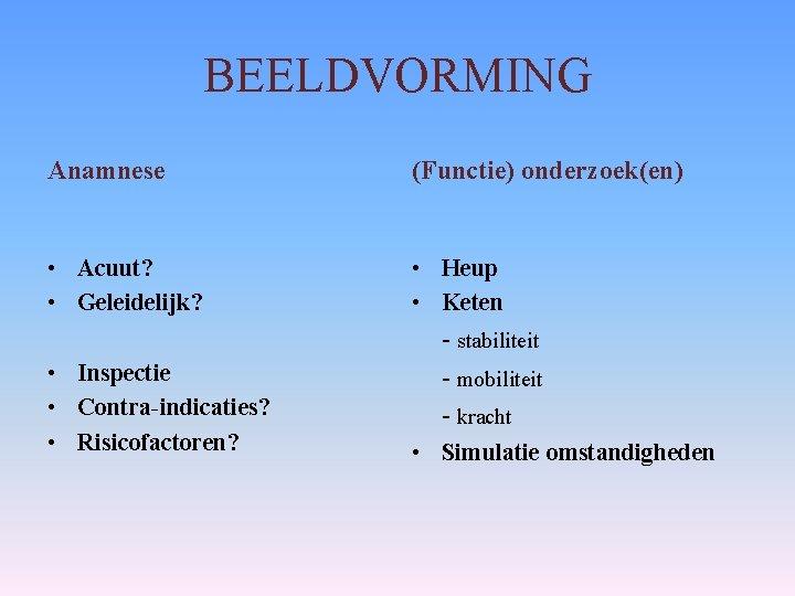 BEELDVORMING Anamnese (Functie) onderzoek(en) • Acuut? • Geleidelijk? • Heup • Keten • Inspectie