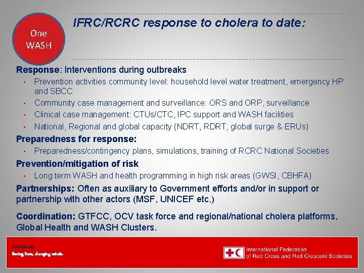 One WASH IFRC/RCRC response to cholera to date: Federation Health WASH Wat. San/EH Response: