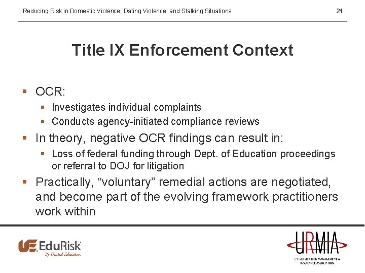 Reducing Risk in Domestic Violence, Dating Violence, and Stalking Situations 21 Title IX Enforcement