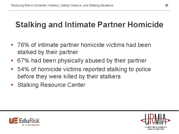 Reducing Risk in Domestic Violence, Dating Violence, and Stalking Situations Stalking and Intimate Partner