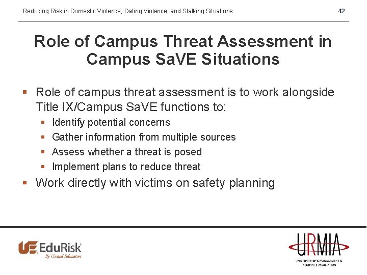 Reducing Risk in Domestic Violence, Dating Violence, and Stalking Situations Role of Campus Threat