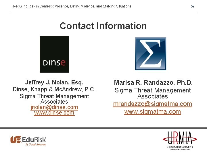 Reducing Risk in Domestic Violence, Dating Violence, and Stalking Situations 52 Contact Information Jeffrey