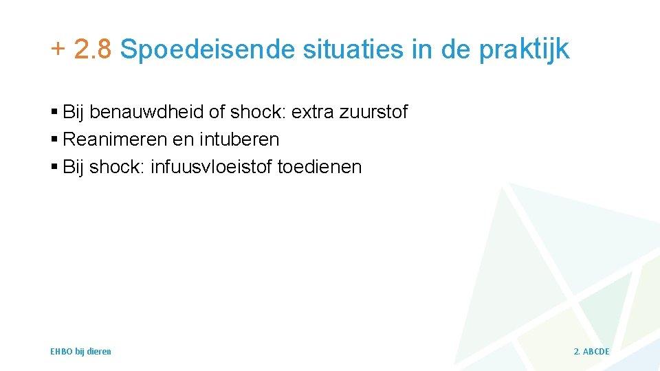+ 2. 8 Spoedeisende situaties in de praktijk § Bij benauwdheid of shock: extra