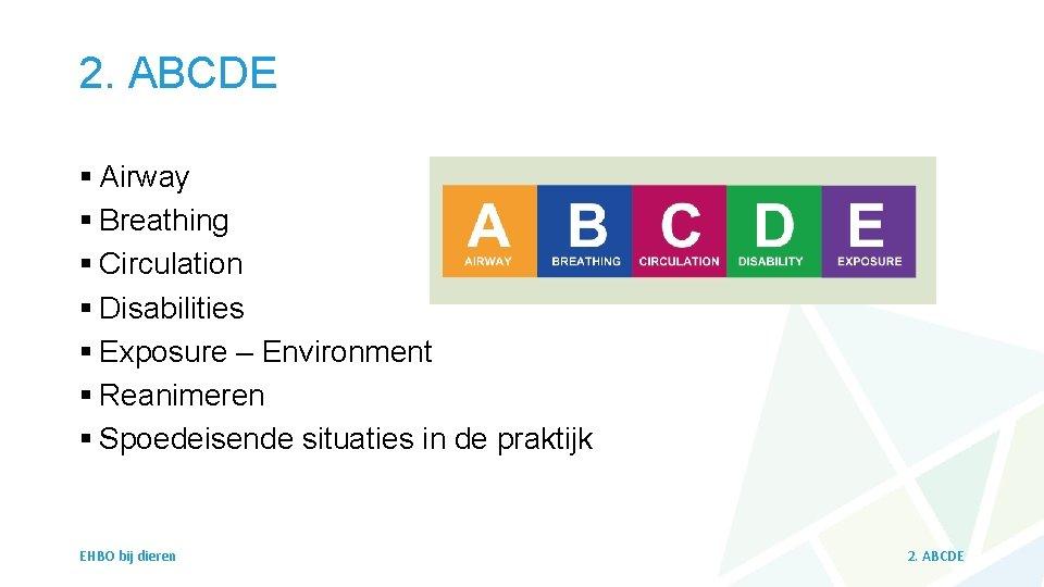 2. ABCDE § Airway § Breathing § Circulation § Disabilities § Exposure – Environment