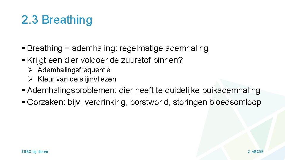 2. 3 Breathing § Breathing = ademhaling: regelmatige ademhaling § Krijgt een dier voldoende