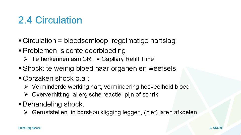2. 4 Circulation § Circulation = bloedsomloop: regelmatige hartslag § Problemen: slechte doorbloeding Ø