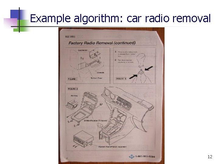 Example algorithm: car radio removal 12
