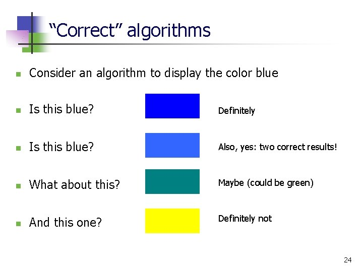 """""""Correct"""" algorithms n Consider an algorithm to display the color blue n Is this"""