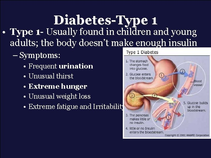 Diabetes-Type 1 • Type 1 - Usually found in children and young adults; the