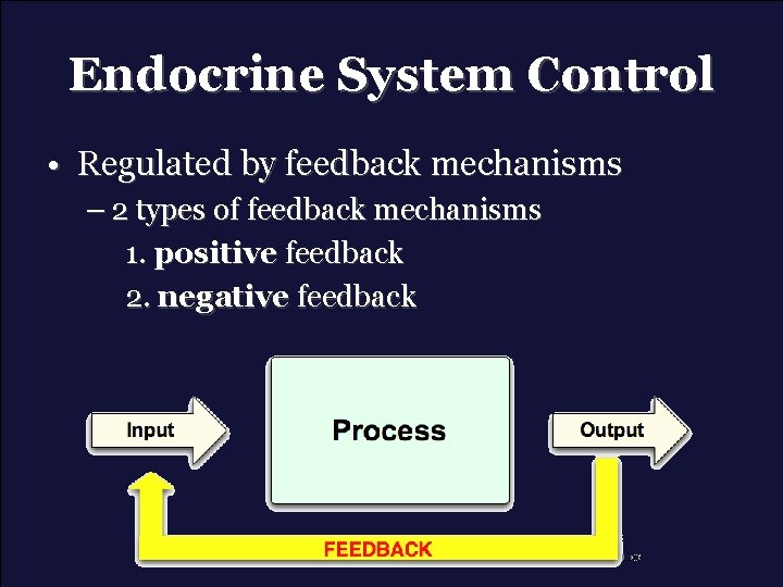 Endocrine System Control • Regulated by feedback mechanisms – 2 types of feedback mechanisms