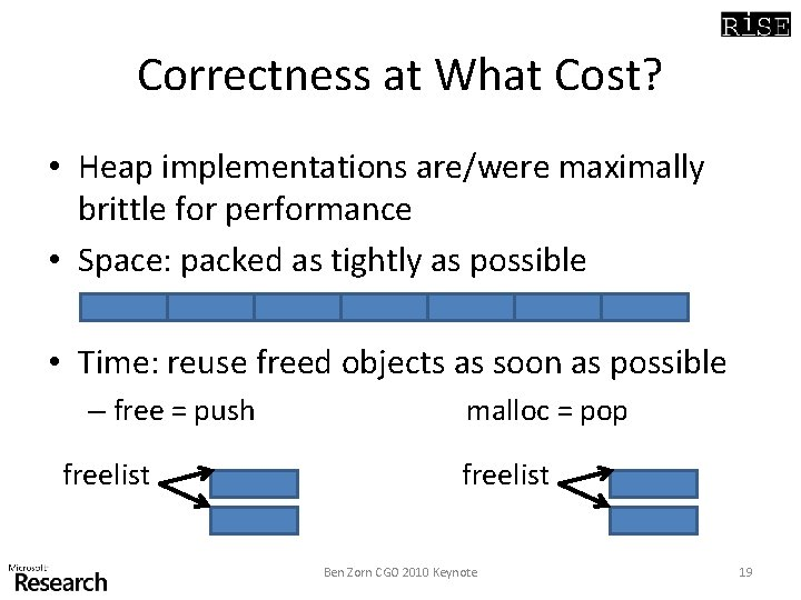 Correctness at What Cost? • Heap implementations are/were maximally brittle for performance • Space: