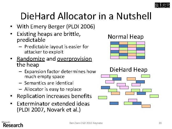 Die. Hard Allocator in a Nutshell • With Emery Berger (PLDI 2006) • Existing