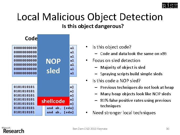 Local Malicious Object Detection Is this object dangerous? Code or Data? 000000000000 000000000000 add
