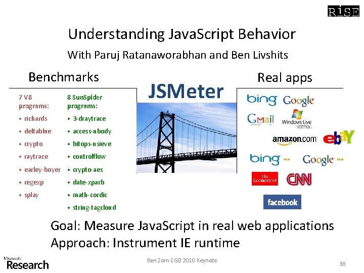 Understanding Java. Script Behavior With Paruj Ratanaworabhan and Ben Livshits Benchmarks 7 V 8
