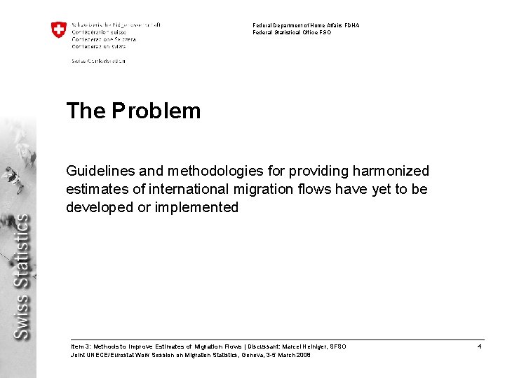 Federal Department of Home Affairs FDHA Federal Statistical Office FSO The Problem Guidelines and