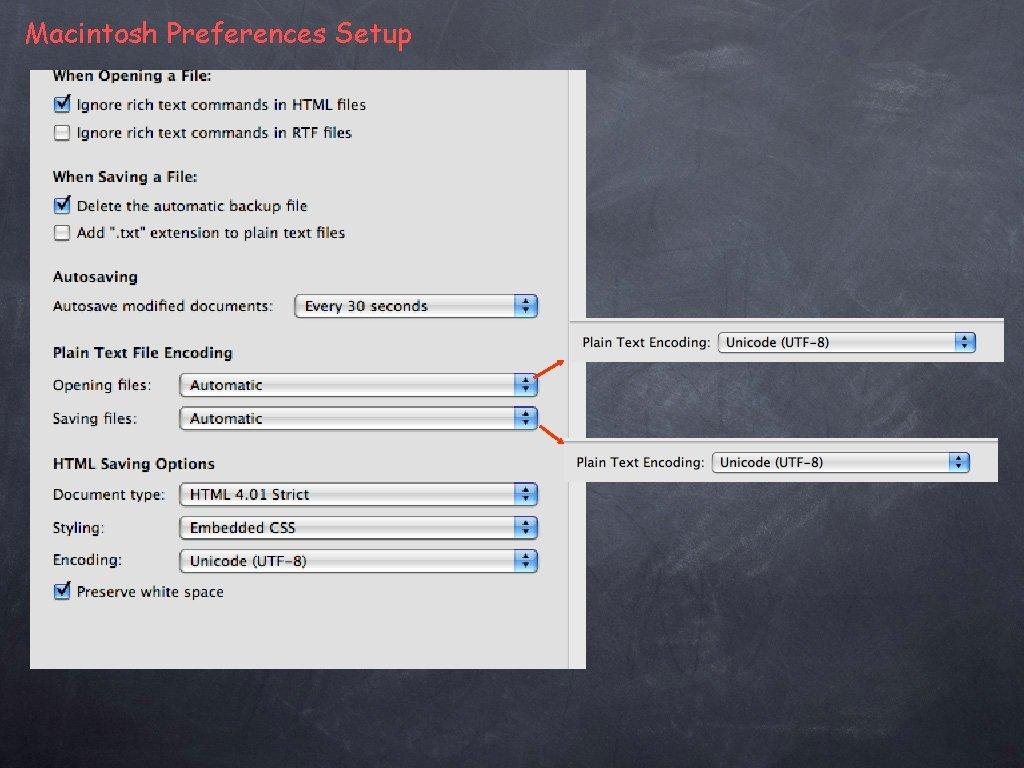 Macintosh Preferences Setup