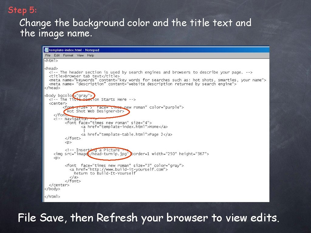 Step 5: Change the background color and the title text and the image name.
