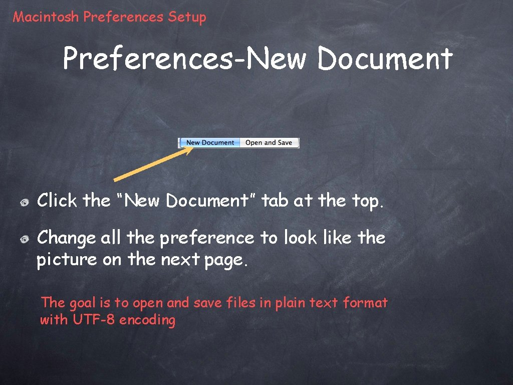 """Macintosh Preferences Setup Preferences-New Document Click the """"New Document"""" tab at the top. Change"""