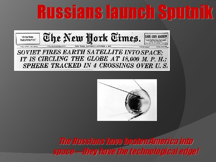 Russians launch Sputnik The Russians have beaten America into space—they have the technological edge!