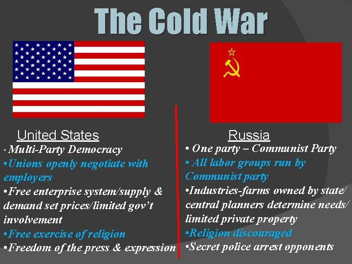 The Cold War United States Russia • One party – Communist Party • All