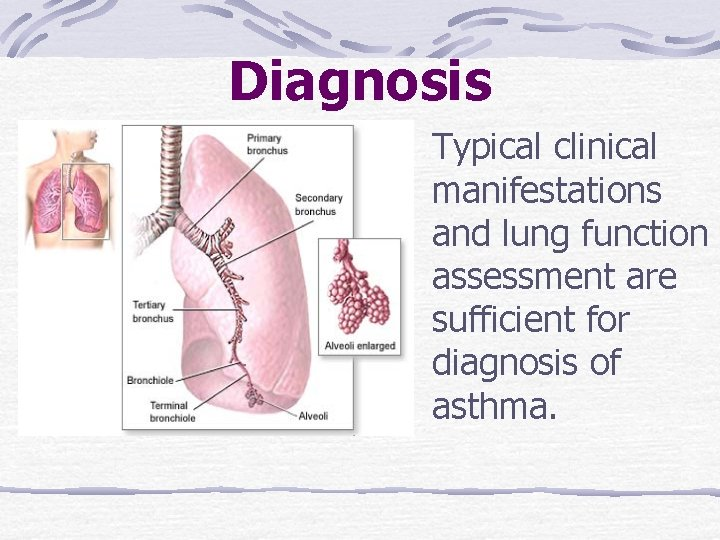 Diagnosis Typical clinical manifestations and lung function assessment are sufficient for diagnosis of asthma.