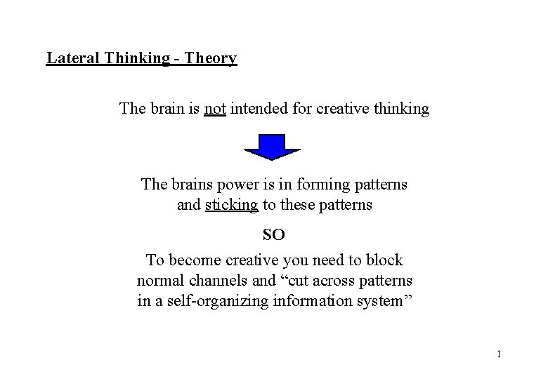 Lateral Thinking - Theory The brain is not intended for creative thinking The brains