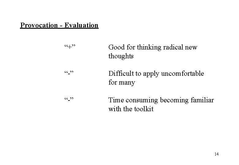 """Provocation - Evaluation """"+"""" Good for thinking radical new thoughts """"-"""" Difficult to apply"""